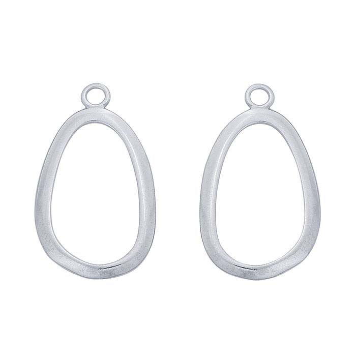Sterling Silver 22 x 13mm Component Mounting, Facing Pair