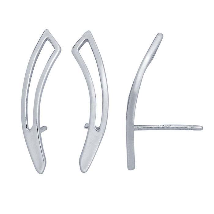 Sterling Silver Geometric Ear-Climber Post Earring
