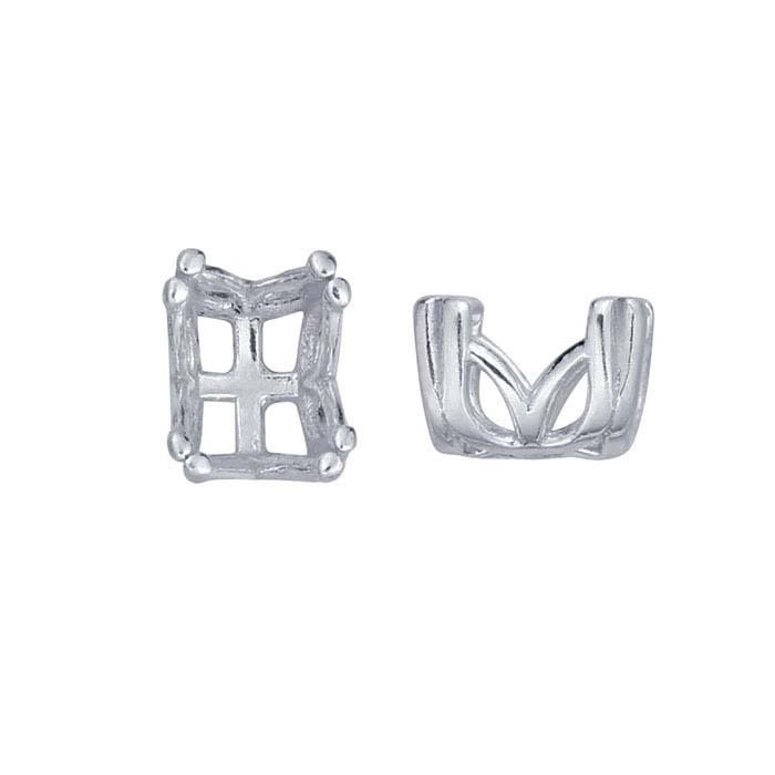 Sterling Silver Oval Pre-Notched Double-Prong Settings