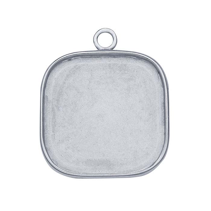 Sterling Silver 25mm Rounded Square Bezel Mounting Component
