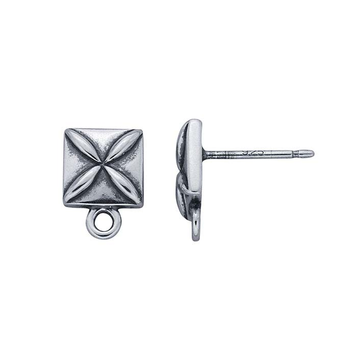 Sterling Silver Square Flower Post Earring with Closed Ring