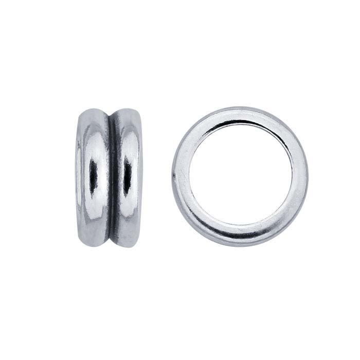 Sterling Silver 3.8mm Double Ridge Bead