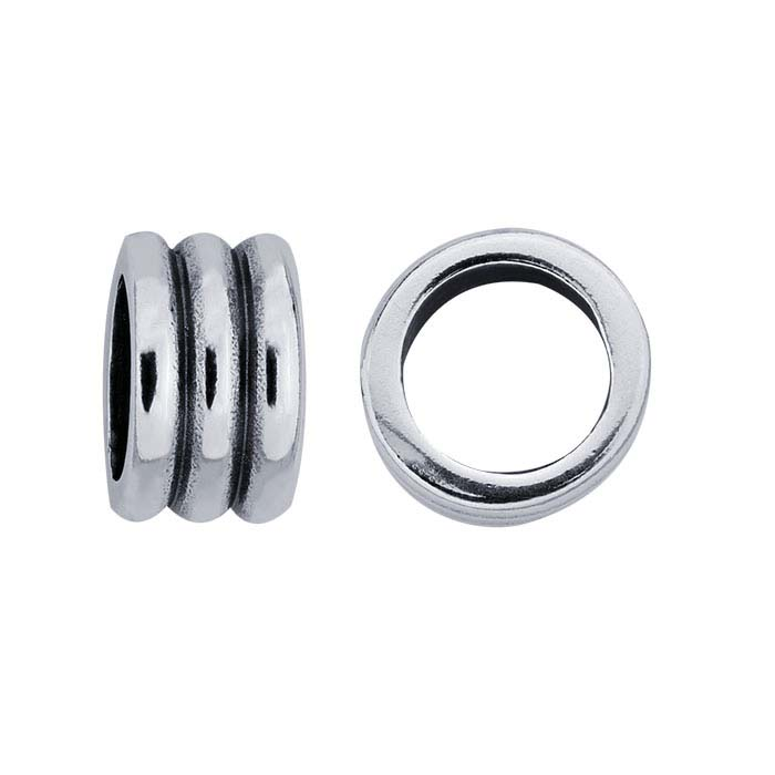 Sterling Silver 8.6 x 5.3mm Triple-Ring Bead