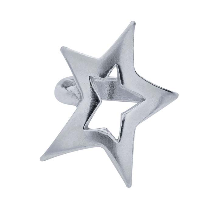 Sterling Silver 11.6 x 8.4mm Open Star Bead