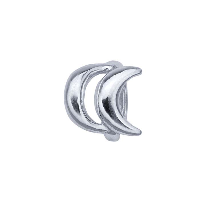 Sterling Silver 8.1 x 8.5mm Open Double-Crescent Bead