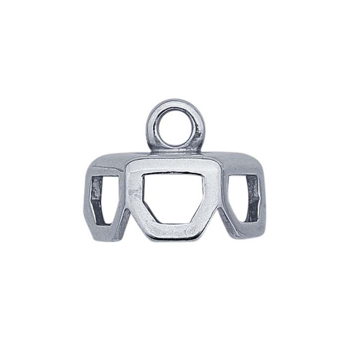 Sterling Silver Hexagon End Cap for Single-Point Crystal