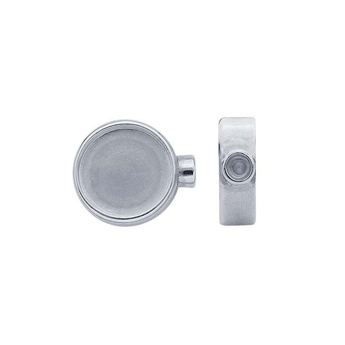 Sterling Silver Round Cabochon End Cap Mountings for Flex Tube Bracelet