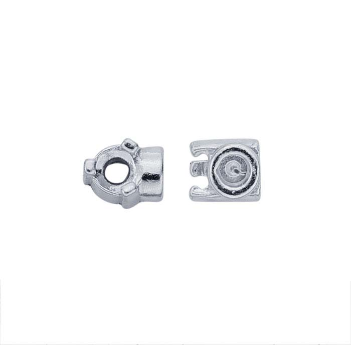 Sterling Silver 3mm Round End Cap Mounting for Flex Tube Bracelet