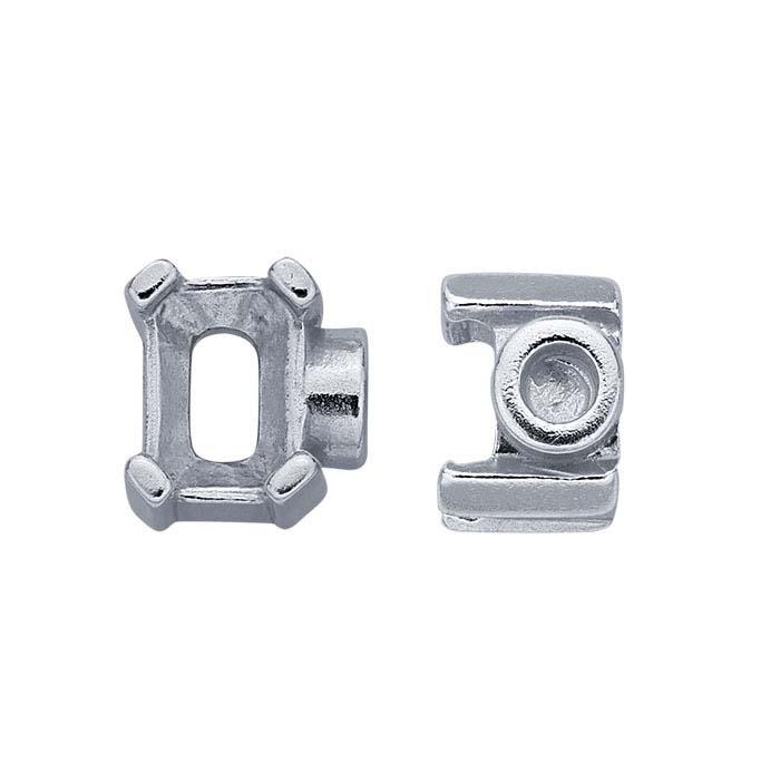 Sterling Silver 6 x 4mm Octagon End Cap Mounting for Flex Tube Bracelet