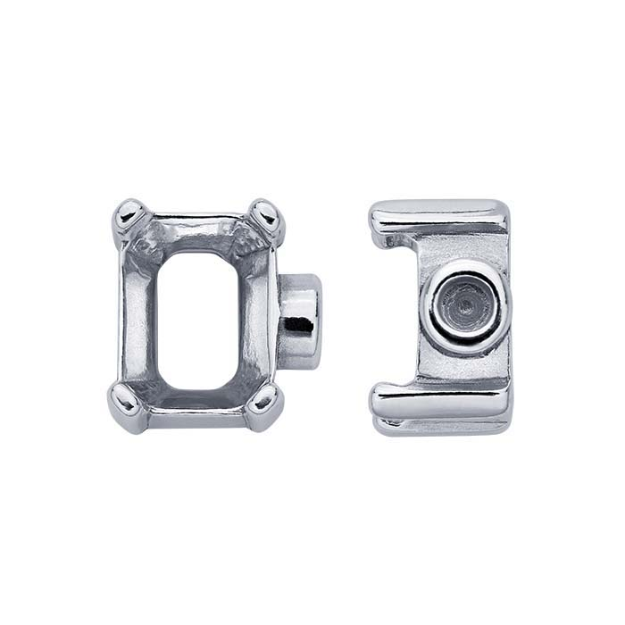 Sterling Silver 8 x 6mm Octagon End Cap Mountings for Flex Tube Bracelet