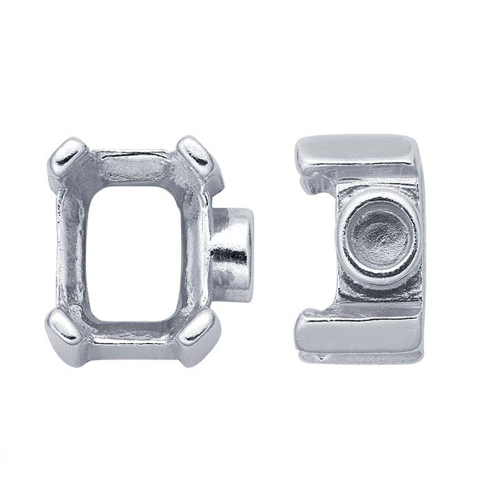 Sterling Silver 8 x 6mm Octagon End Cap Mounting for Flex Tube Bracelet