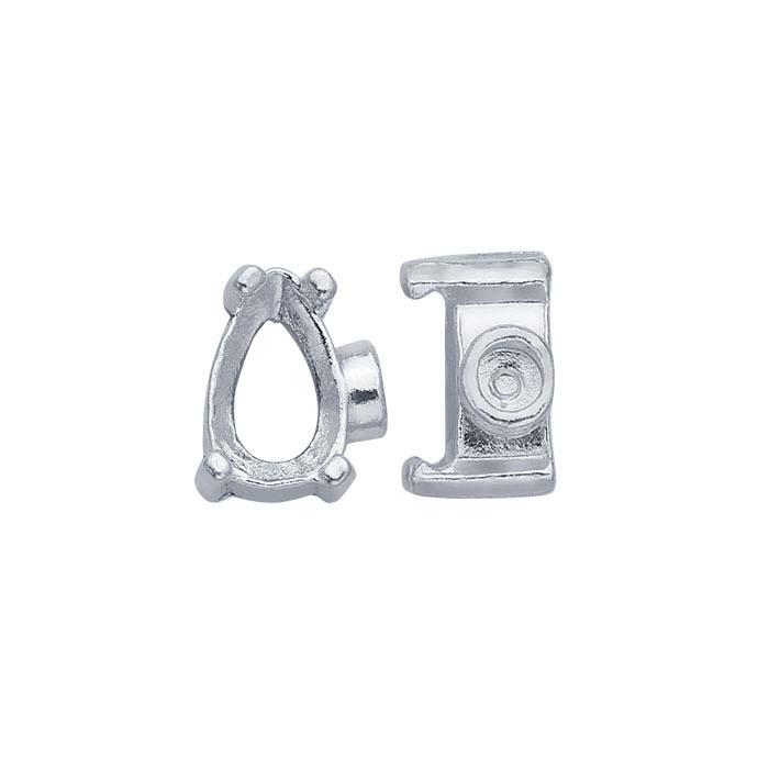 Sterling Silver Pear End Cap Mountings for Flex Tube Bracelet