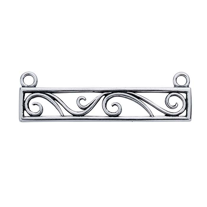 Sterling Silver Rectangle Filigree Festoon Pendant