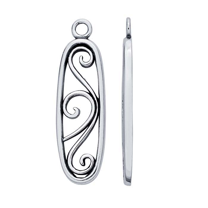 Sterling Silver Oval Filigree Component