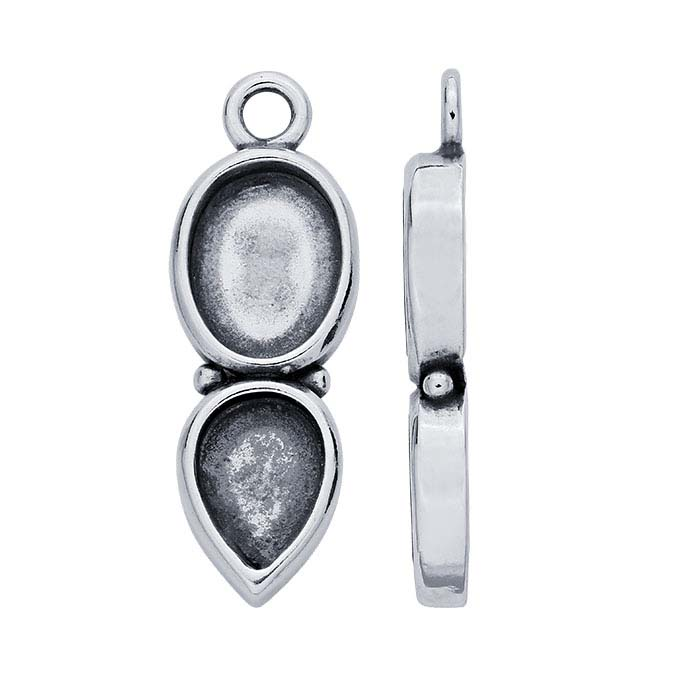 Sterling Silver Two-Stone Bezel Component Mounting with Closed Ring