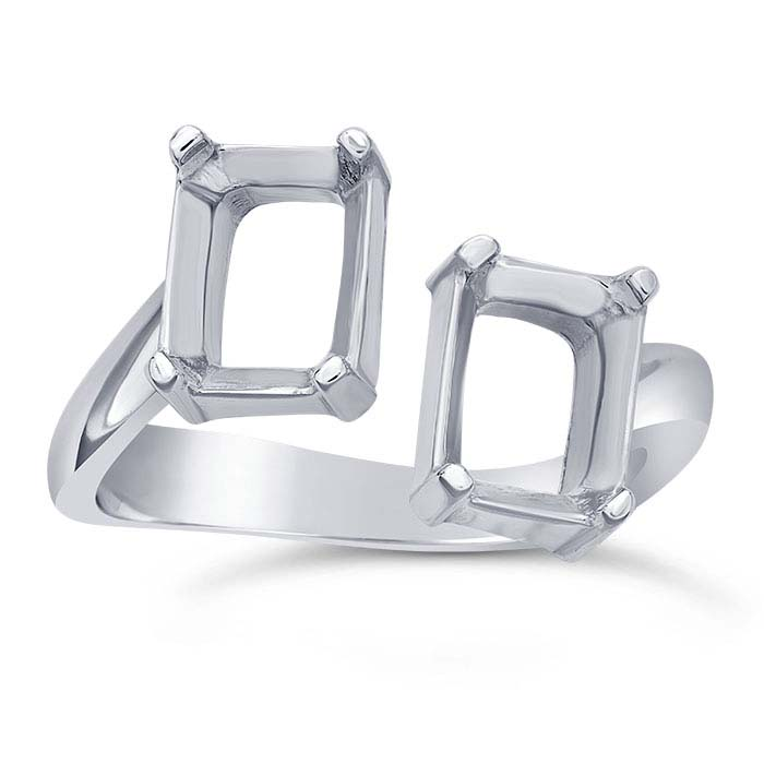 Sterling Silver 8 x 6mm Octagon Bypass Ring Mounting