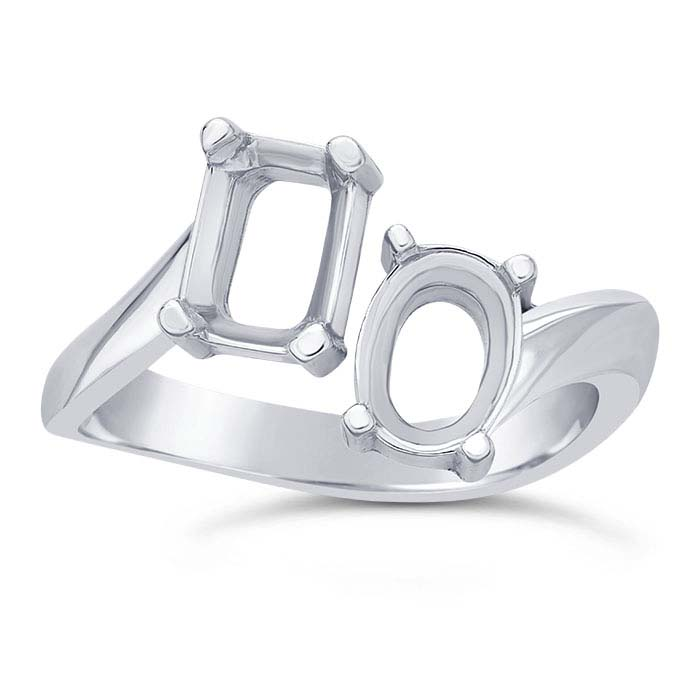 Sterling Silver 7 x 5mm Two-Stone Bypass Ring Mounting