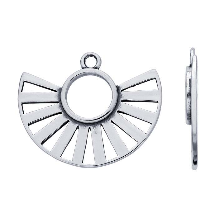 Sterling Silver Cut-Out Fan Component