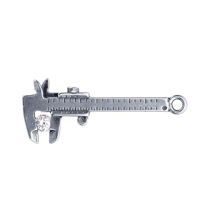 Sterling Silver CZ-Set Caliper Charm