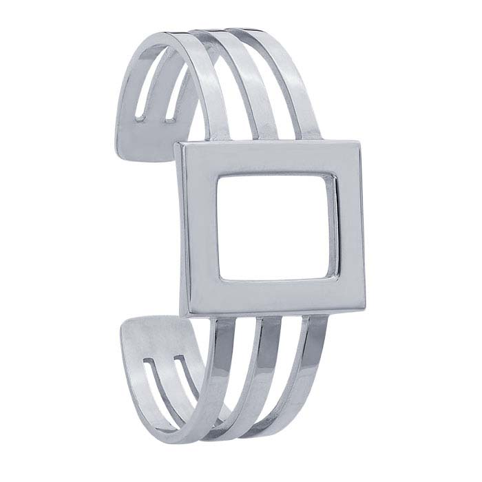 Sterling Silver Open Rectangle Cuff Bracelet