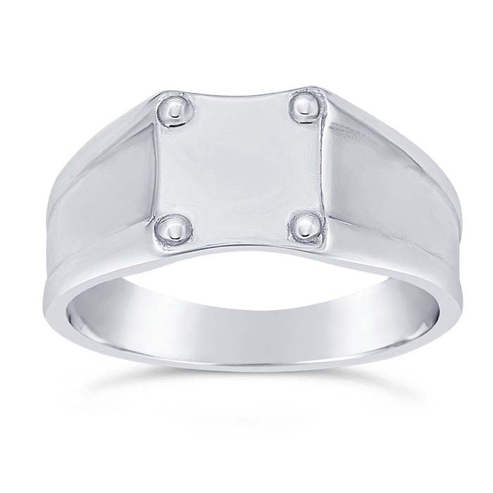 Sterling Silver 4.3mm Square Signet Ring