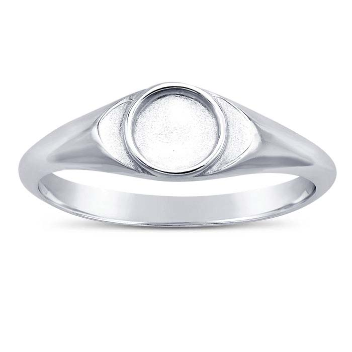 Sterling Silver Round Bezel Ring Mountings