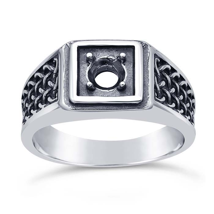 Sterling Silver Woven 5mm Round Ring Mounting