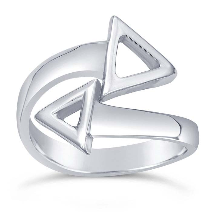 Sterling Silver Open Triangles Bypass Rings