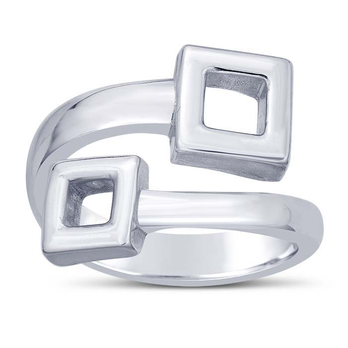 Sterling Silver Open Square Bypass Rings