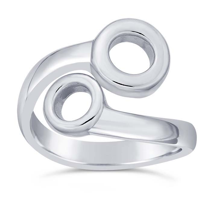 Sterling Silver Open Circles Bypass Rings