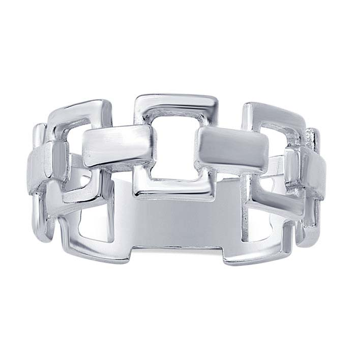 Sterling Silver Open Rectangle Link Rings